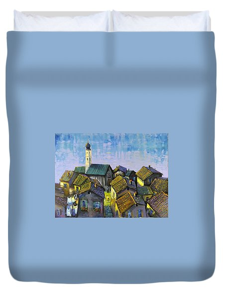 Duvet Cover featuring the painting Lago   Caldonazza by Mikhail Zarovny