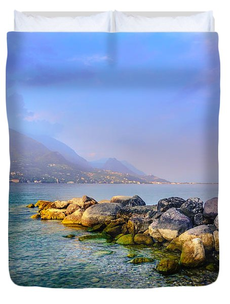 Duvet Cover featuring the photograph Lago Di Garda. Stones by Dmytro Korol