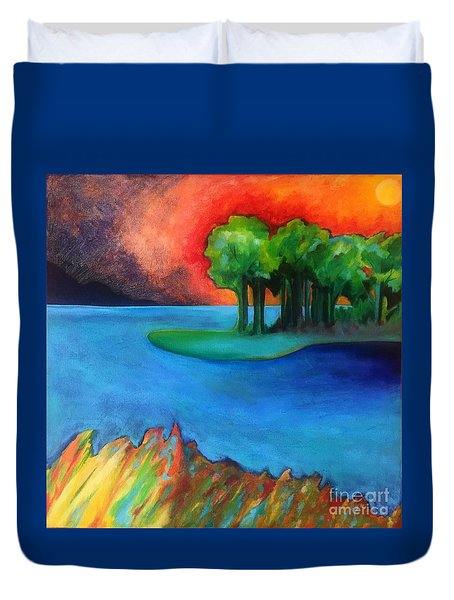 Duvet Cover featuring the painting Laguna Blu by Elizabeth Fontaine-Barr