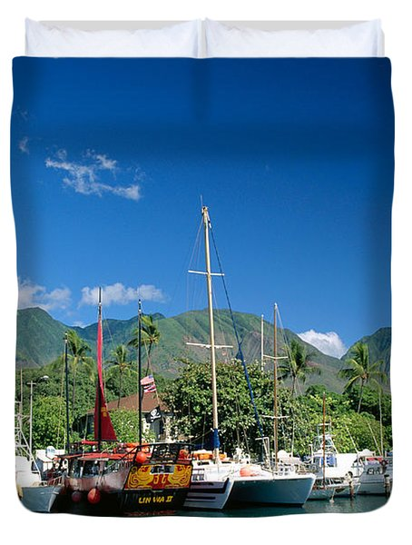 Lahaina Harbor - Maui Duvet Cover by William Waterfall - Printscapes