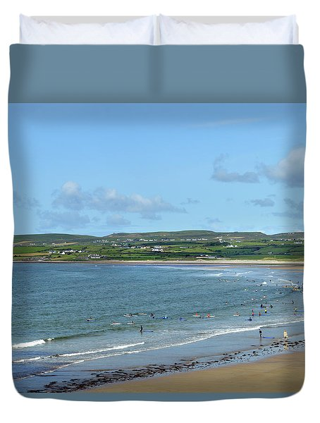 Duvet Cover featuring the photograph Lahinch Beach by Terence Davis