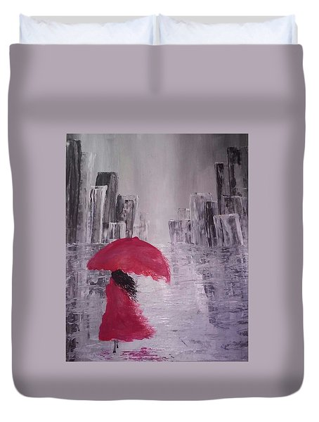 Duvet Cover featuring the painting Laidy In The City Abstract Art by Sheila Mcdonald