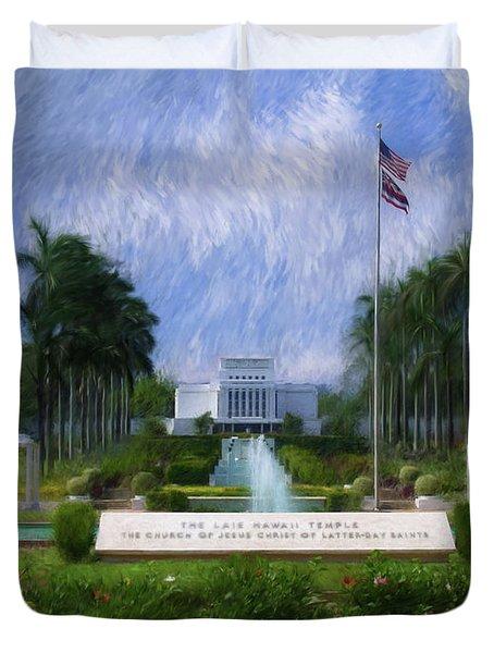 Laie Hawaii Temple Duvet Cover