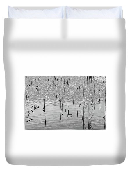 Duvet Cover featuring the photograph Lake Abstract by Carolyn Dalessandro