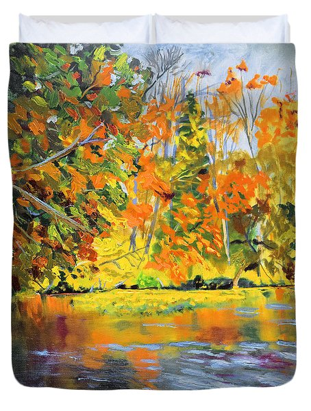 Lake Aerofloat Fall Foliage Duvet Cover by Michael Daniels
