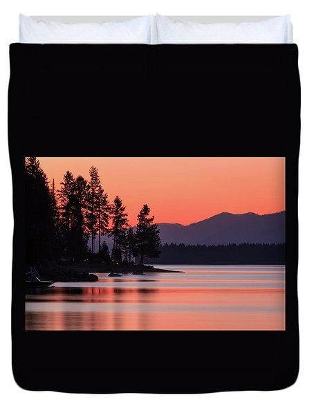 Lake Almanor Twilight Duvet Cover