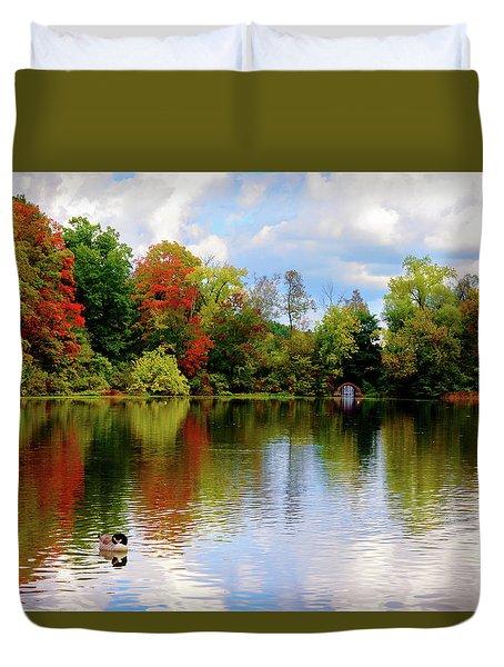 Lake At Forest Park Duvet Cover