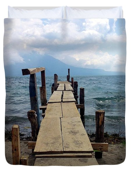 Lake Atitlan Dock Duvet Cover