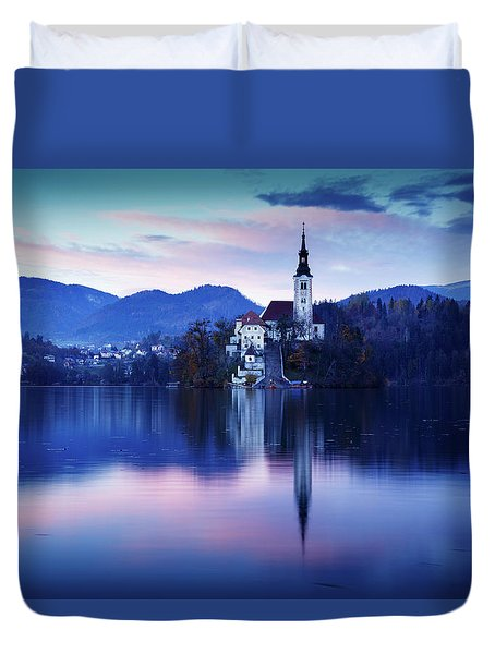 Lake Bled And The Island Church Duvet Cover