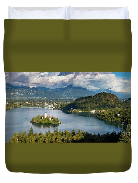 Duvet Cover featuring the photograph Lake Bled Pano by Brian Jannsen