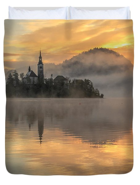 Lake Bled Sunrise Slovenia Duvet Cover
