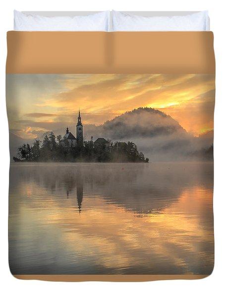Lake Bled Sunrise Slovenia Duvet Cover