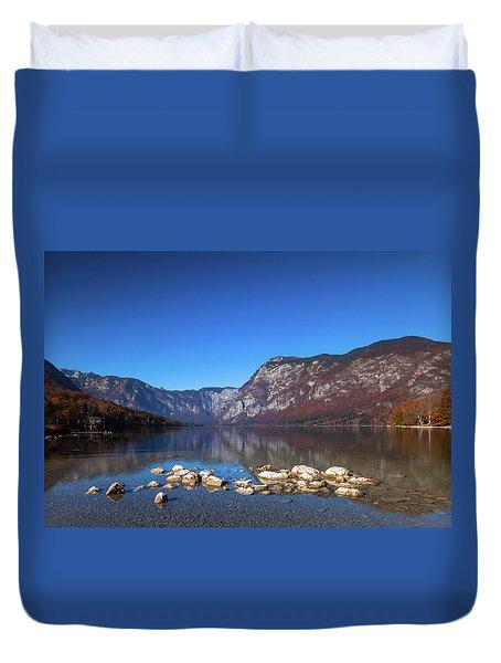 Duvet Cover featuring the photograph Lake Bohinj by Davor Zerjav