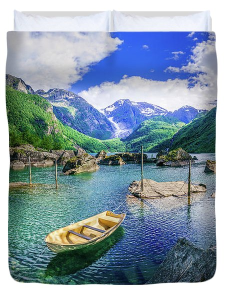 Duvet Cover featuring the photograph Lake Bondhusvatnet by Dmytro Korol