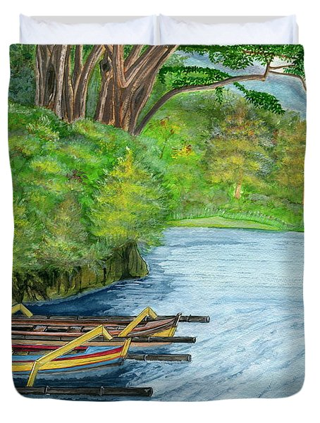 Duvet Cover featuring the painting Lake Bratan Boats Bali Indonesia by Melly Terpening