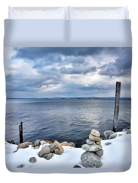 Duvet Cover featuring the photograph Lake Champlain During Winter by Brendan Reals