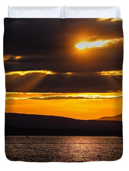 Lake Champlain Sunset Duvet Cover