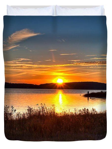 Lake Charlevoix Sunset Duvet Cover by Larry Carr
