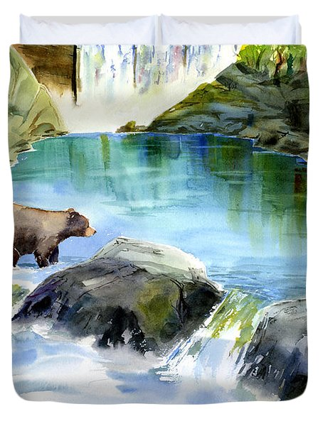 Lake Clementine Falls Bear Duvet Cover