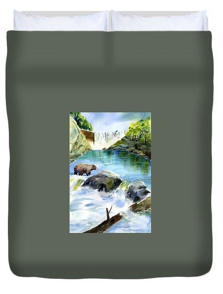 Lake Clementine Falls Bear Duvet Cover