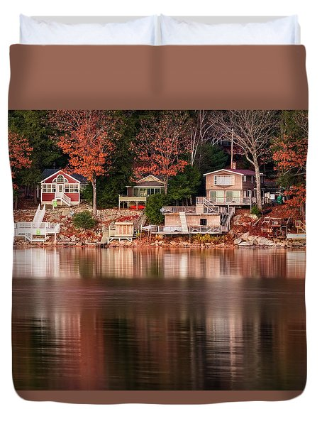 Lake Cottages Reflections Duvet Cover