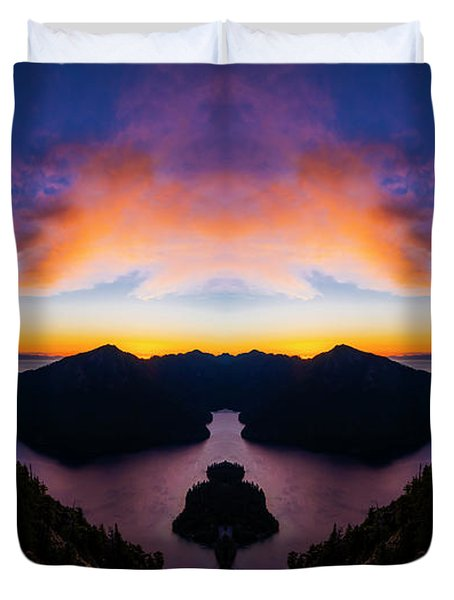 Lake Crescent Reflection Duvet Cover