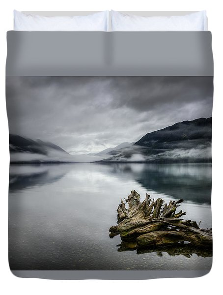 Duvet Cover featuring the photograph Lake Crescent Relic by Dan Mihai