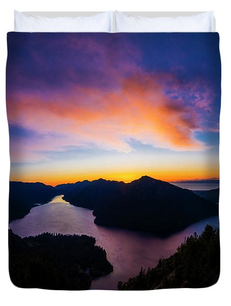 Lake Crescent Sunset Duvet Cover
