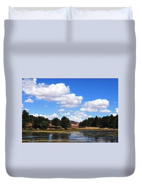 Lake Cuyamac Landscape And Clouds Duvet Cover by Matt Harang