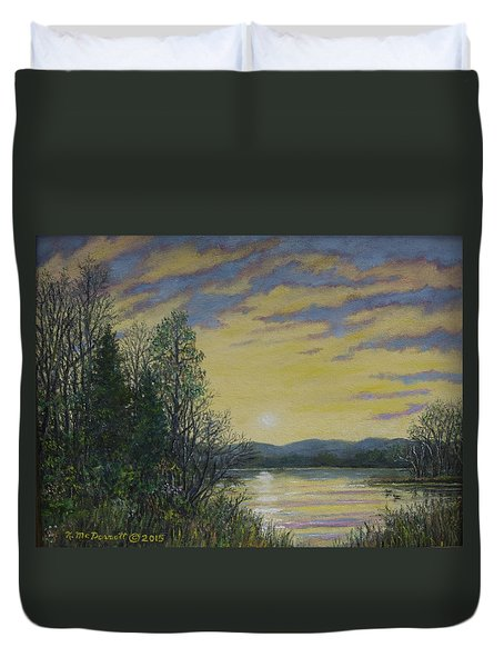 Duvet Cover featuring the painting Lake Dawn by Kathleen McDermott