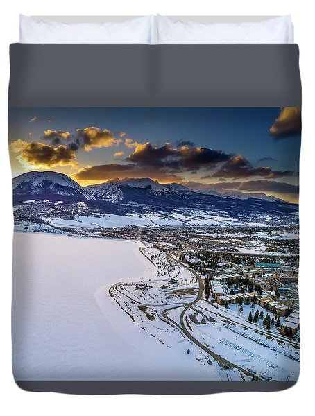 Duvet Cover featuring the photograph Lake Dillon Sunset by Sebastian Musial