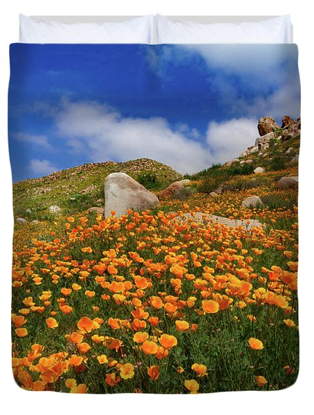 Lake Elsinore Poppy Rock Garden Duvet Cover