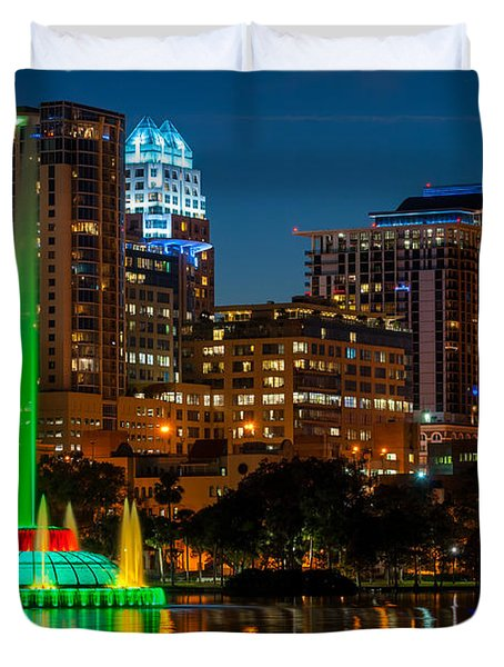 Lake Eola Fountain Duvet Cover