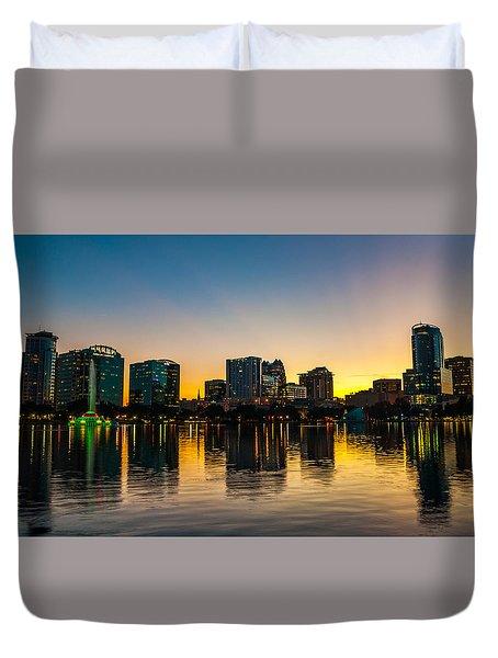 Lake Eola Sunset Duvet Cover