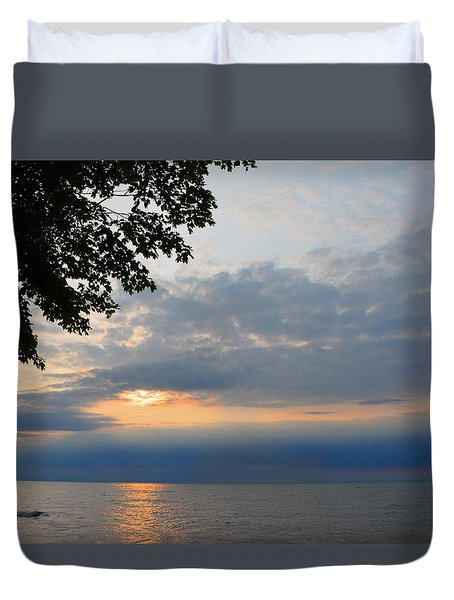 Lake Erie Sunset Duvet Cover by Lena Wilhite