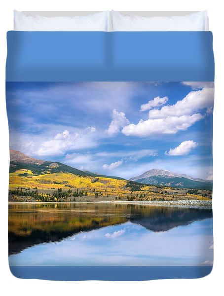 Duvet Cover featuring the photograph Lake Forebay Reflections by Tim Reaves