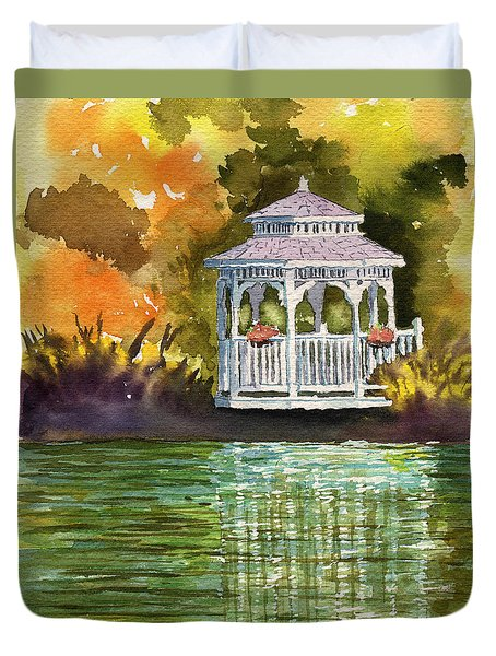 Lake Gazebo Duvet Cover
