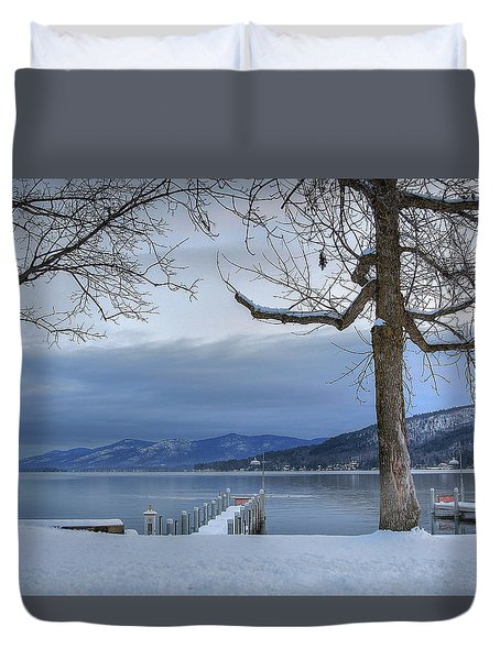 Lake George In The Winter Duvet Cover by Sharon Batdorf