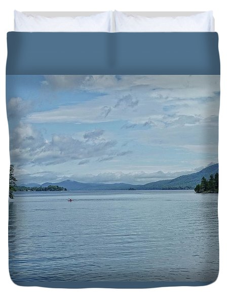 Lake George Kayaker Duvet Cover