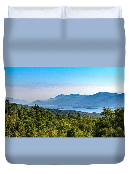 Lake George, Ny And The Adirondack Mountains Duvet Cover by Brian Caldwell