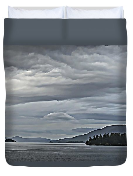 Lake George Rain And Clouds Duvet Cover