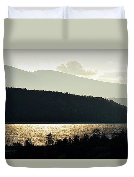 Duvet Cover featuring the photograph Lake Glimmer by AJ  Schibig