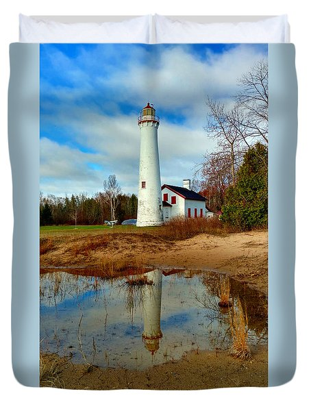 Lake Huron Lighthouse Duvet Cover by Michael Rucker