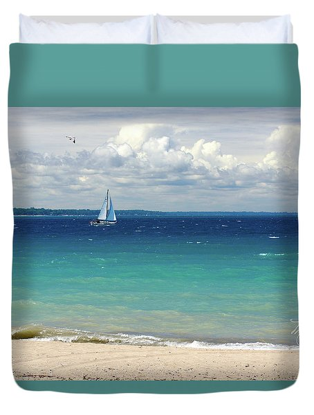 Duvet Cover featuring the photograph Lake Huron Sailboat by Meta Gatschenberger