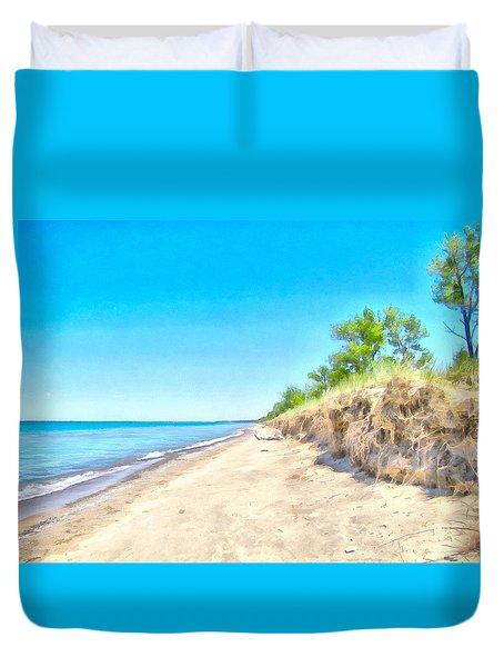 Lake Huron Shoreline Duvet Cover by Maciek Froncisz