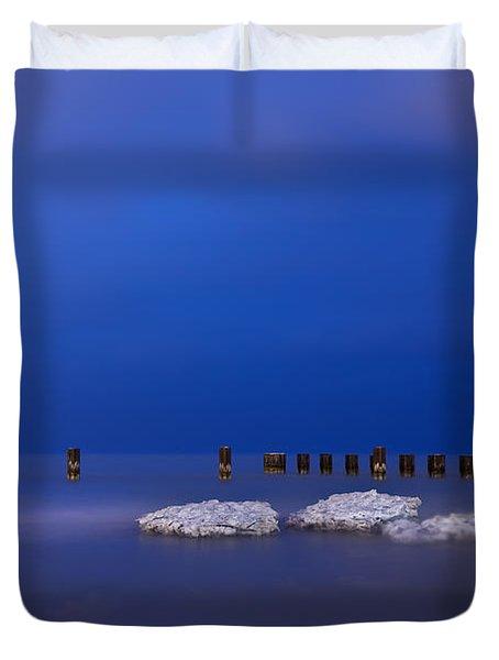Lake Ice Chicago Duvet Cover by Steve Gadomski