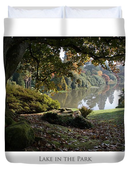 Duvet Cover featuring the digital art Lake In The Park by Julian Perry