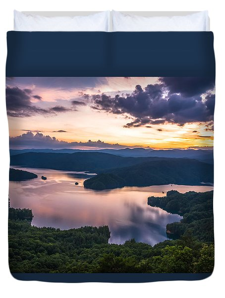 Lake Jocassee Sunset Duvet Cover by Serge Skiba