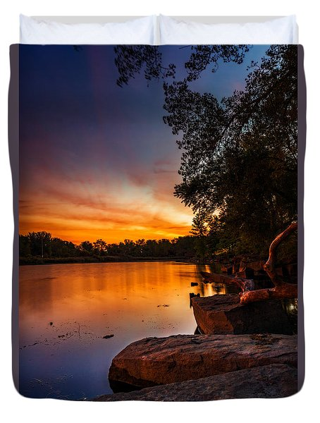 Duvet Cover featuring the photograph Lake Kirsty Twilight - Vertical by Chris Bordeleau
