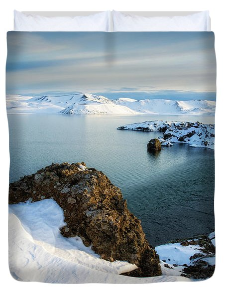 Duvet Cover featuring the photograph Lake Kleifarvatn Iceland In Winter by Matthias Hauser